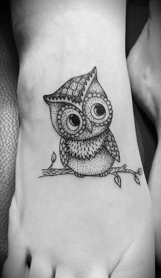 Owl Tattoo Design On Foot 1