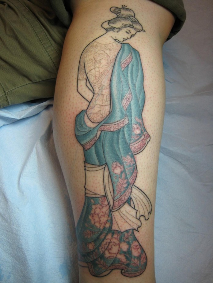 japanese tattoo on calf