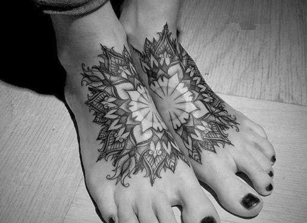 Combine Foot Tattoo Design 28