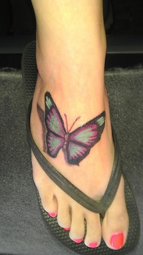 Butterfly Tattoo Design On Foot 3