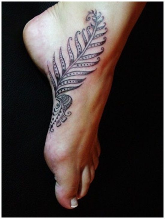 Leaf Tattoo Design On Foot 5