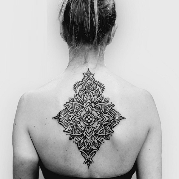 Upper Back Cool Mandala Flower Tattoo For Girl