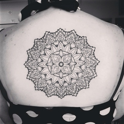 Outline Ink Lovely Mandala Flower Tattoo On Upper Back