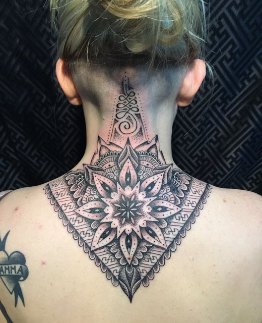 Triangle Shape Cool Mandala Flower Tattoo On Back