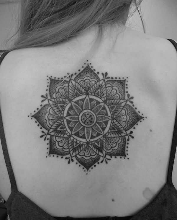 Girl Back Nice Mandala Tattoo On Upper Back