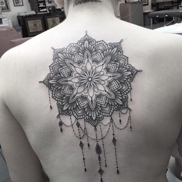 Men Show Upper Back Simple Mandala Flower Tattoo