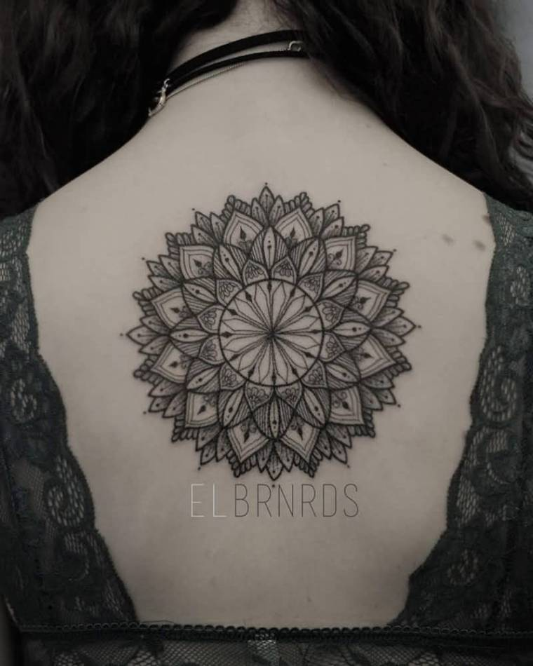 Lovely Nice Girl Show Simple Upper Back Mandala Tattoo