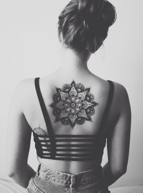 Girl Showing Her Upper Back Mandala Flower Tattoo