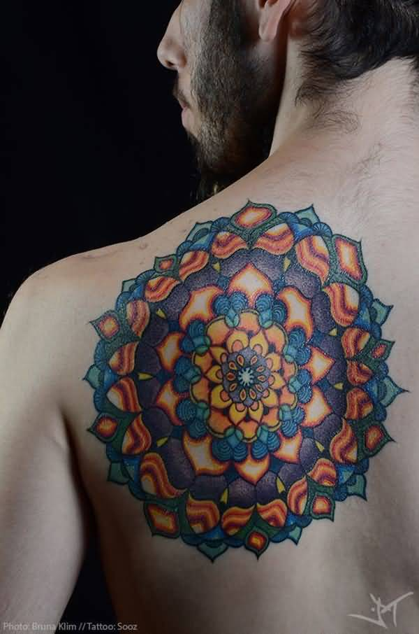 Colorful Mandala Flower Tattoo On Men Back