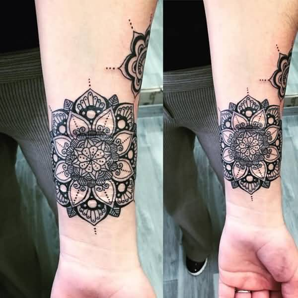 Attractive Mandala Flower Tattoo On Men Sleeve