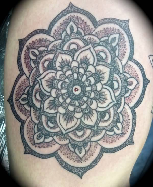 Attractive Grey Mandala Flower Tattoo On Thigh