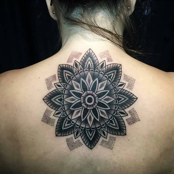 Girl Upper Back Cover Up With Mandala Tattoo