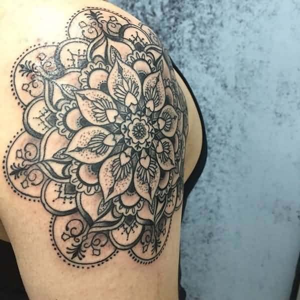 Black Ink Mandala Flower Tattoo On Men Shoulder