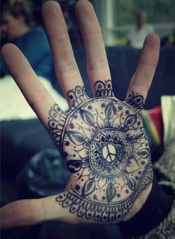 Outstanding Mandala Flower Tattoo For Palm