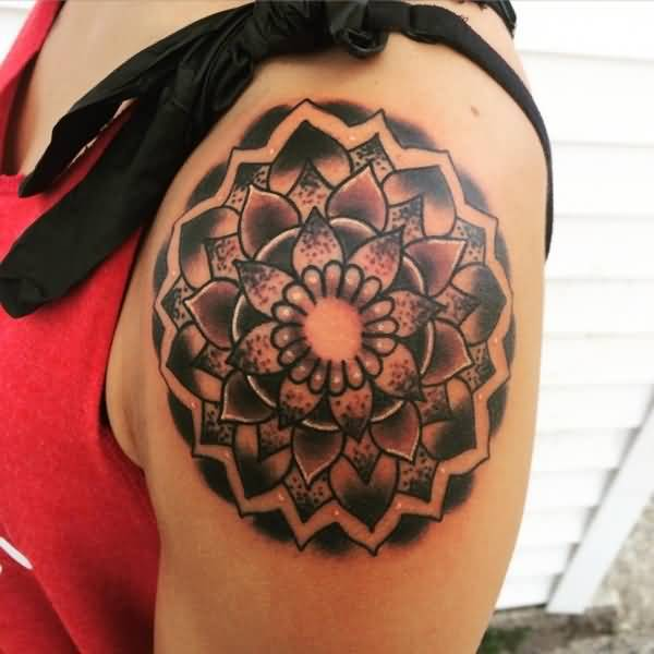 Attractive Tattoo Of Mandala Flower On Men Shoulder