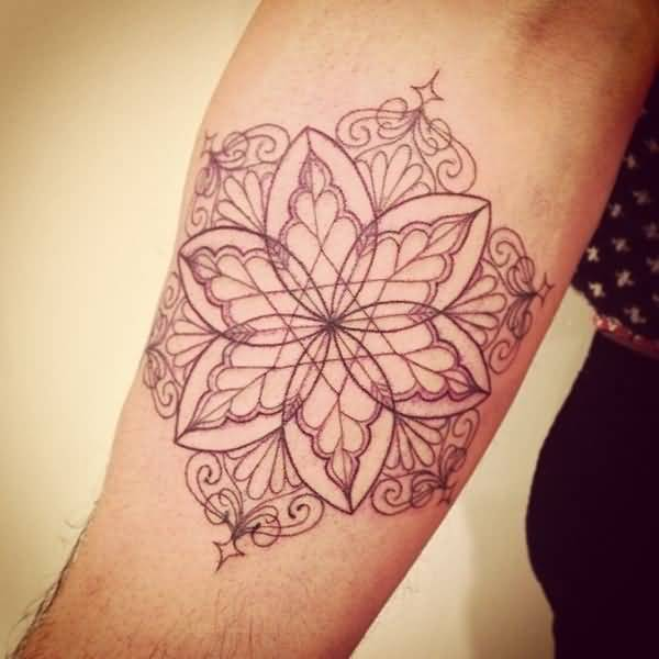 Red Ink Mandala Flower Tattoo Outline On Lower Sleeve