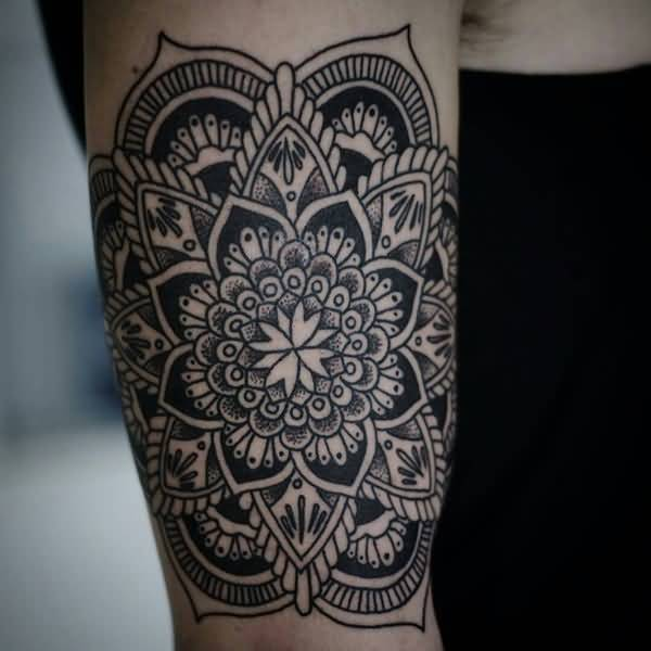 Black Ink Mandala Flower Tattoo Design