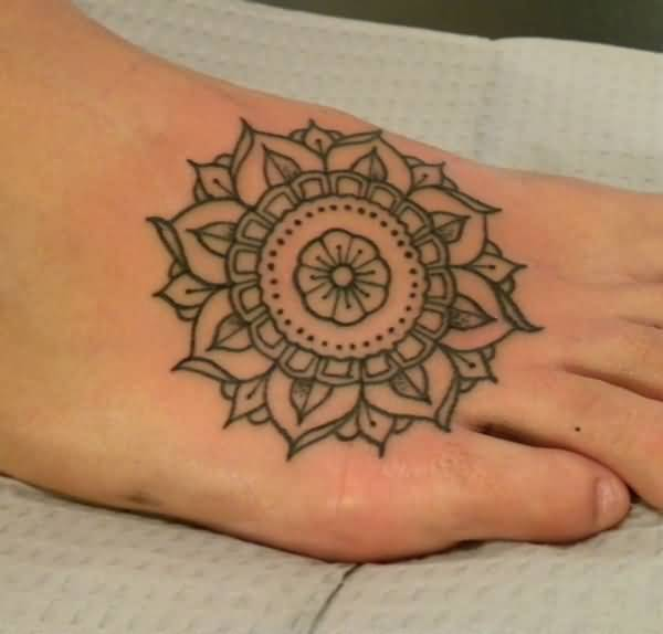 Awesome Mandala Tattoo Outline On Women Foot