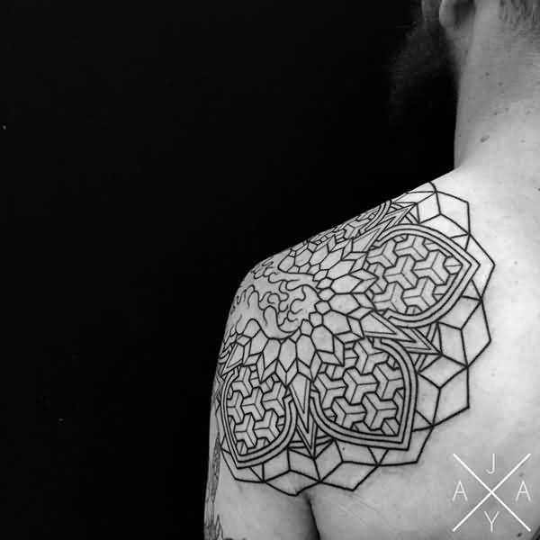 Coolest Mandala Flower Tattoo Outline On Shoulder