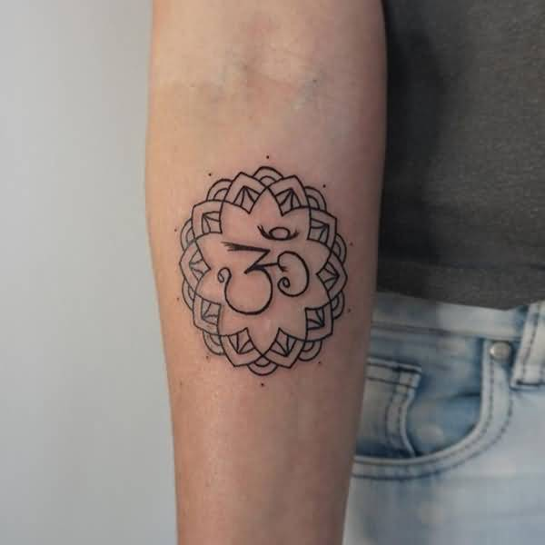 Beautiful Mandala Flower Tattoo With Religious Om Sign