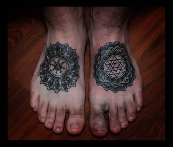 Two Different Mandala Tattoo Design For Both Foot