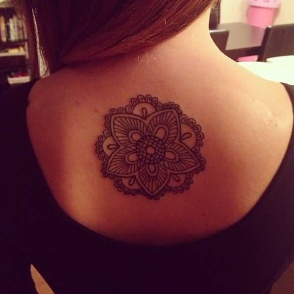 Cute Mandala Flower Tattoo For Girl Upper Back