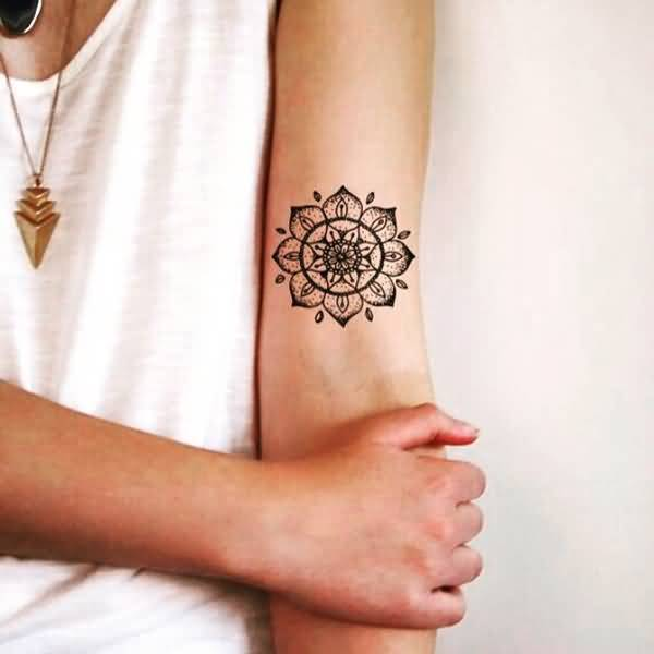 Elegant Small Mandala Flower Tattoo For Girl Sleeve