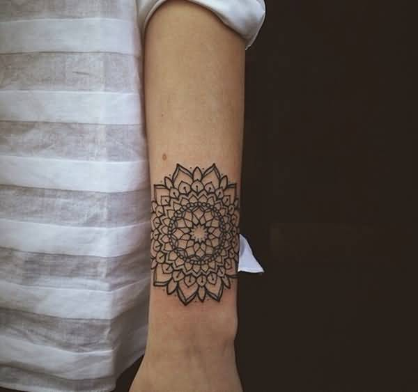 Lovely Mandala Flower Tattoo Outline On Sleeve