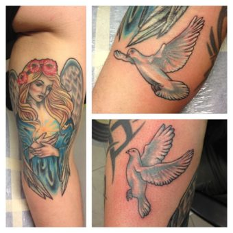 celebrities with angel tattoos