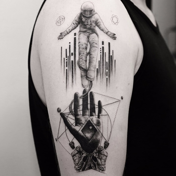 Fine Line Black and Gray Tattoos by Balazs Bercsenyi