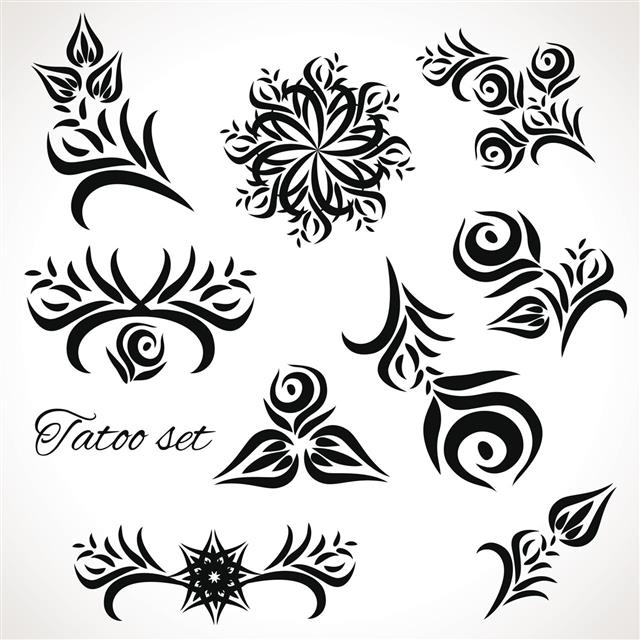 Set Of Floral Motifs For Tattoos
