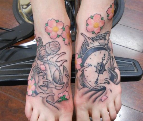 Anchor and Clock Tattoo Design 2