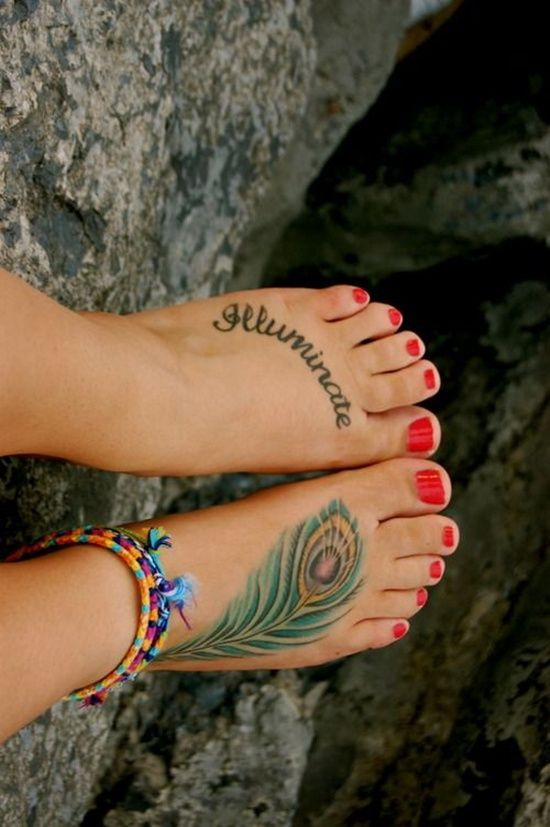 Feather Tattoo Design On Foot 15